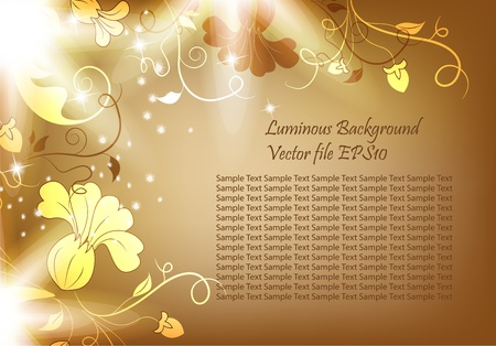 Luminous background with flowers and bright light. Beautiful bright harmonic colors. Vintage brown color and beautiful flowers. Place Your text if necessary.   Vector