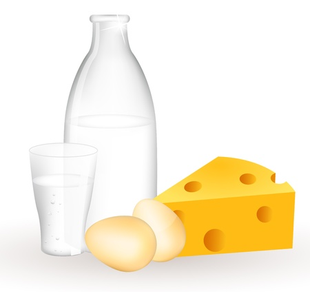 Milk products and eggs Vector