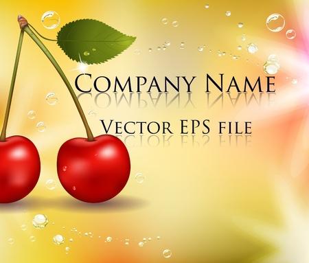 Juicy cherry background. Beautiful harmonic colors. Stock Vector - 9448859