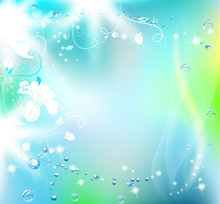 Beautiful blue background with pure water drops and flowers  Vector