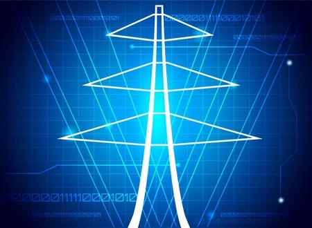 redes electricas: Torre de transmisi�n, resumen ilustraci�n.