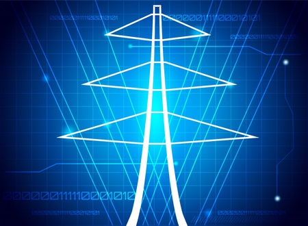 electricity background: Transmission tower, abstract illustration.