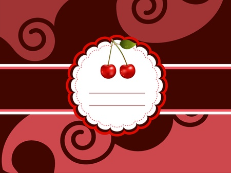 Cherry card. Chocolate brown background.  Vector