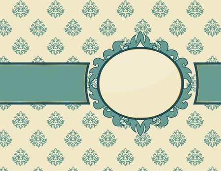 beautiful vintage card with oval frame Stock Vector - 9877019