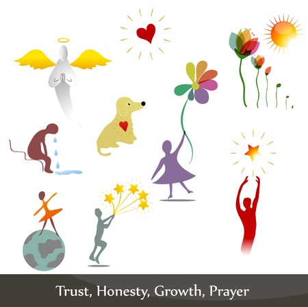 Illustrations that symbolize honesty, regret, trust, prayer, growth.