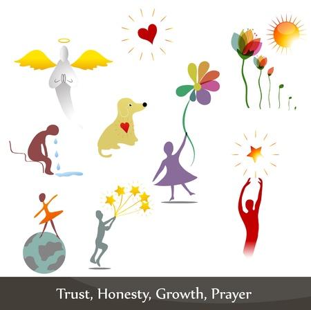 onestà: Illustrazioni che simboleggiano l'onest�, il rimpianto, la fiducia, la preghiera, la crescita.