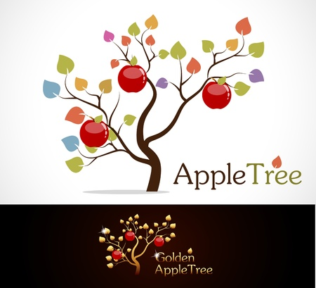 Colorful apple tree with delicious red apples and golden apple tree. Illustration