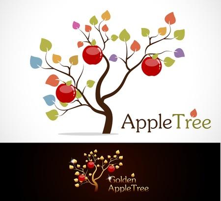 arbol de manzanas: Manzano de colores con deliciosas manzanas rojas y doradas manzano. Vectores