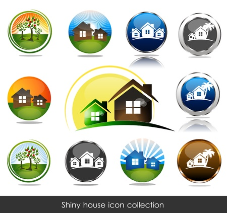 rent: Shiny house icon collection.
