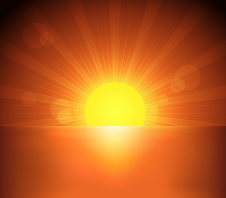 Beautiful sea and sunset illustration Vector