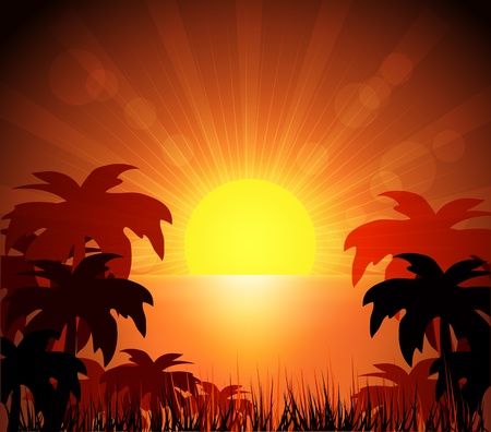 Island and sunrise  Vector