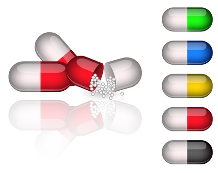 Set of medication capsules Vector