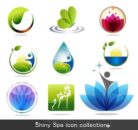 leaf logo: Beautiful spa icon collection, butterfly, flowers, foliage, drop and plant. Beautiful harmonic colors, can be used as company logo. Illustration
