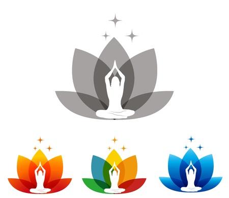 flor loto: Flor de loto y una mujer en pose de yoga