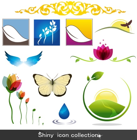 holistic health: Shiny nature icons Illustration