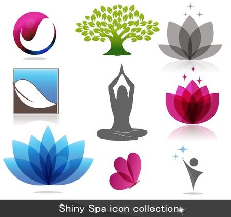 mindfulness: Spa-pictogram collectie, mooie heldere kleuren