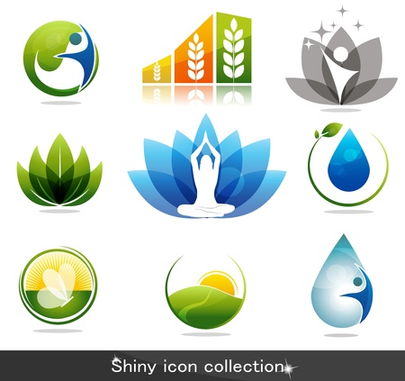 Beautiful nature and health icon collection Vector