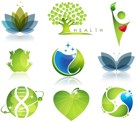 Stunning health-care and ecology symbols  Beautiful harmonic colors  Vector