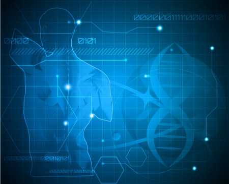 의학: 추상 의학 배경. 인간의 뒤로, 척추와 유전자 체인. 의료 유전, 제약, 과학 산업에서 사용할 수 있습니다. 아름 다운 파란색.