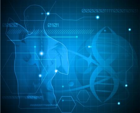 adn humano: Resumen de fondo la medicina. Espalda humana, columna vertebral y el gen de la cadena. Puede ser utilizado en los m�dicos, gen�ticos, la industria farmac�utica, la ciencia. Hermoso color azul.