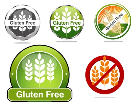Gluten free food labels collection  Beautiful bright colors  Isolated white background  Vector