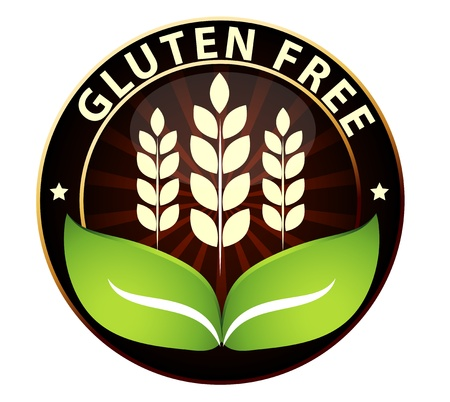 intolerance: Beautiful Gluten free food packaging sign  Can be used as a stamp, emblem, seal, badge etc  Isolated on a white background  Illustration