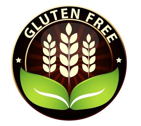produits c�r�aliers: Belle gluten signe sans emballage alimentaire Peut �tre utilis� comme un timbre, un embl�me, etc insigne joint, isol� sur un fond blanc Illustration