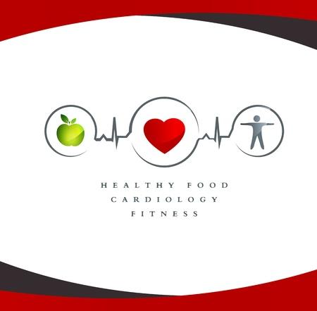 thể dục: Biểu tượng sức khỏe. Thực phẩm lành mạnh và tập thể dục dẫn đến trái tim và cuộc sống lành mạnh. Nền trắng.