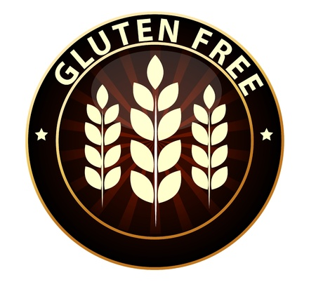 celiac: Gluten free food packaging sign  Can be used as a stamp, emblem, seal, badge etc  Isolated on a white background