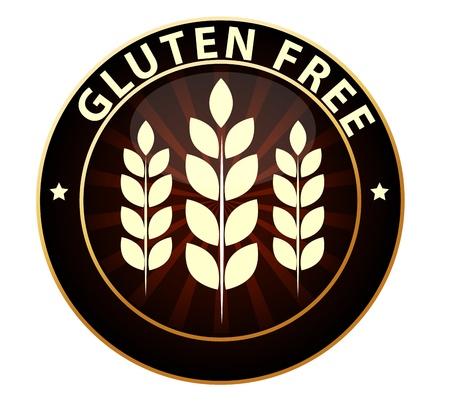 produits c�r�aliers: Sans gluten signe d'emballage alimentaire peut �tre utilis� comme un tampon, embl�me, insigne, etc sceau, isol� sur un fond blanc