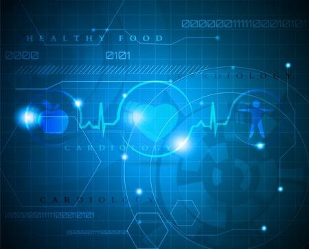 hjärtslag: Abstrakt medicinsk bakgrund abstrakt cardiogram Wellness symboler Sund mat och kondition leder till friskt hjärta och liv