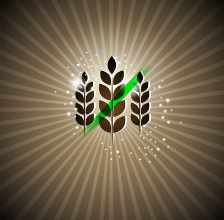 celiac disease: Gluten free sign on a bright background  Can be used for brochures, banners etc