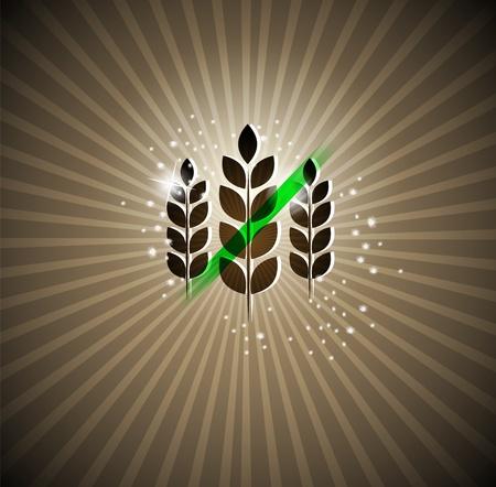 produits c�r�aliers: Gluten inscription gratuite sur un fond lumineux peut �tre utilis� pour les brochures, banni�res etc Illustration