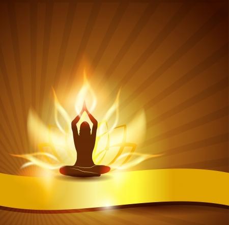 mindfulness: Mooie lotusbloem als vuur, vrouw in yoga houding in de voorzijde en gouden lint Stock Illustratie