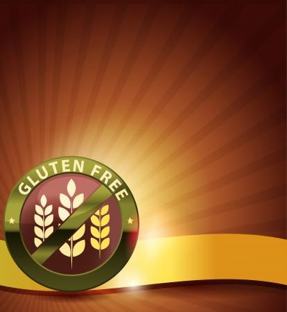Beautiful gluten free design. Golden ribbon, harmonic and bright color combination. Vetores