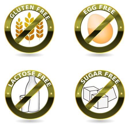 Beautiful diet icon collection  Gluten free, lactose free and egg free  Can be used as a stamp, emblem, seal, badge, on a packaging etc  Beautiful harmonic colors and elegant design   Stock Vector - 15657948