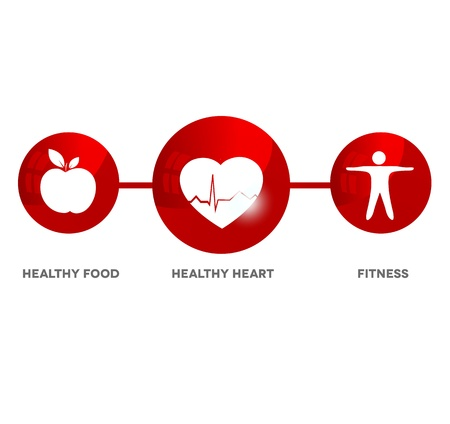 Wellness and medical symbol. Illustration symbolizes healthy food and fitness leads to healthy heart and healthy life.  Vector