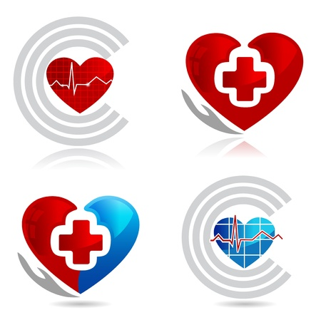 Cardiology, medical and healthy heart symbols  Beautiful bright colors Vector