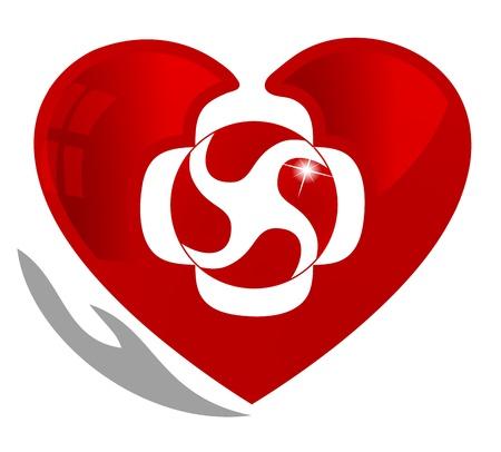Cardiologie, medische en gezonde hartsymbool Het hart symboliseert de bloedcirculatie in het hart en door het hele lichaam De hand staat symbool voor de genezing en bescherming van de bloedcirculatie systeem