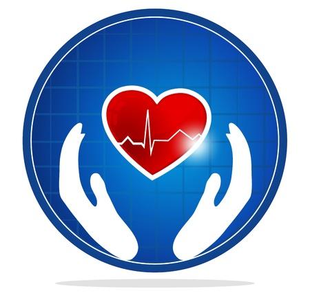 infarctus: Cardiologie et le symbole du coeur La forme de coeur symbolise le c?ur battant en bonne sant� et en bonne sant� Mains circulation sanguine du syst�me symbolise la gu�rison et la protection du coeur humain