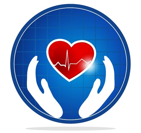 medical emblem: Cardiology and heart symbol  The heart shape symbolizes healthy heart beating and healthy blood circulation system  Hands symbolizes the healing and protection of human heart