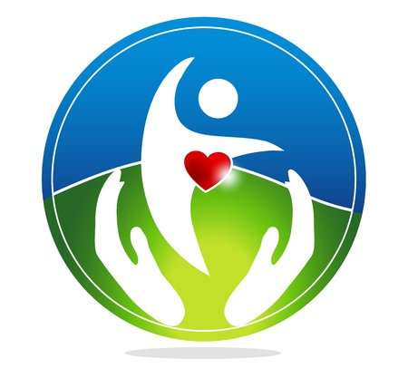 health symbol: Healthy human and healthy heart symbol. The heart shape symbolizes healthy heart beating and healthy blood circulation system. Hands symbolizes the healing and protection of human health.