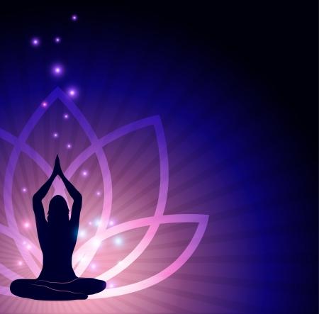 Mooie lotusbloem en vrouw in yoga pose in de voor-en sprankelende lichten Mooie harmonische kleuren Vector Illustratie