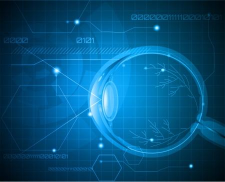 눈알: 인간의 안구 해부학 추상 의료 배경