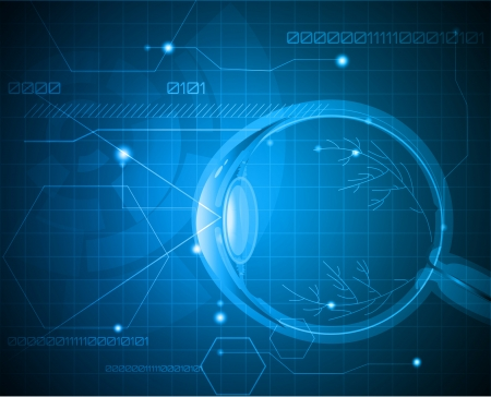 Abstract medical background with human eyeball anatomy  Vector