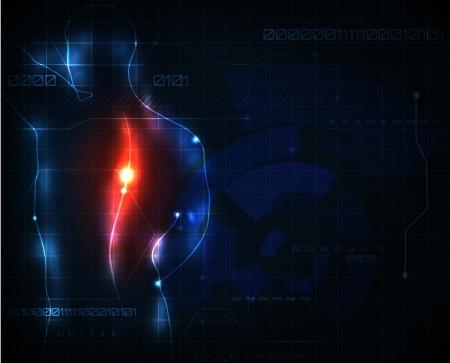 scheletro umano: Umano sfondo della colonna vertebrale mal di astratto Vettoriali