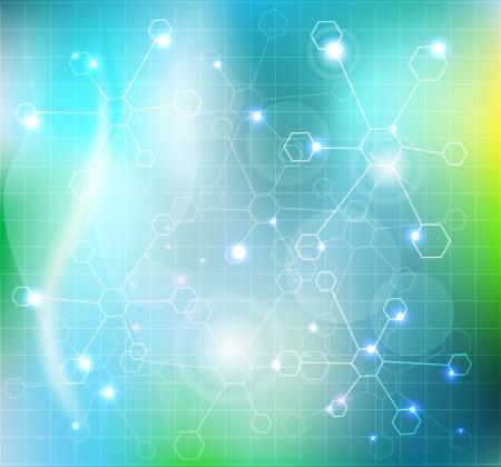 biomedical: Astratto molecole di carta da parati, medico combinazione Bellissimo sfondo di colore blu con molecole trasparenti e luci