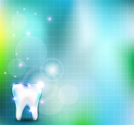dental hygienist: Beautiful blue background with healthy white tooth