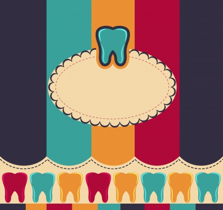 cavities: Colorful card with tooth  Beautiful harmonic and bright colors  Illustration