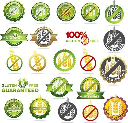 intolerancia: Grandes sellos de colecci�n libre de gluten. Varios dise�os llenos de color, se puede utilizar como sellos, sellos, insignias, etc para embalaje